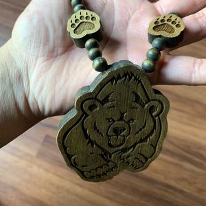 Wood Bear Necklace